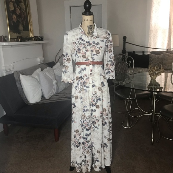 Altar'd State Dresses & Skirts - Altar'd State Long Flowy White Floral Dress XS / S